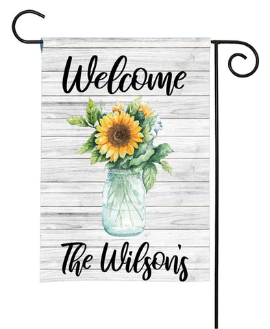 Personalized Garden Flag - Vase Of Sunflowers