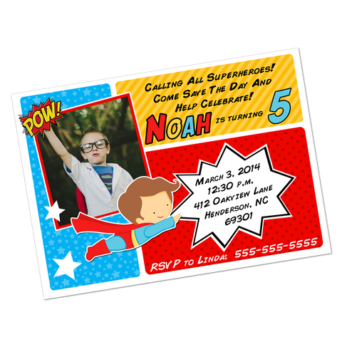 Superhero Digital Birthday Invitation