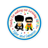 Batman and Robin Personalized Sticker Birthday Stickers - INKtropolis