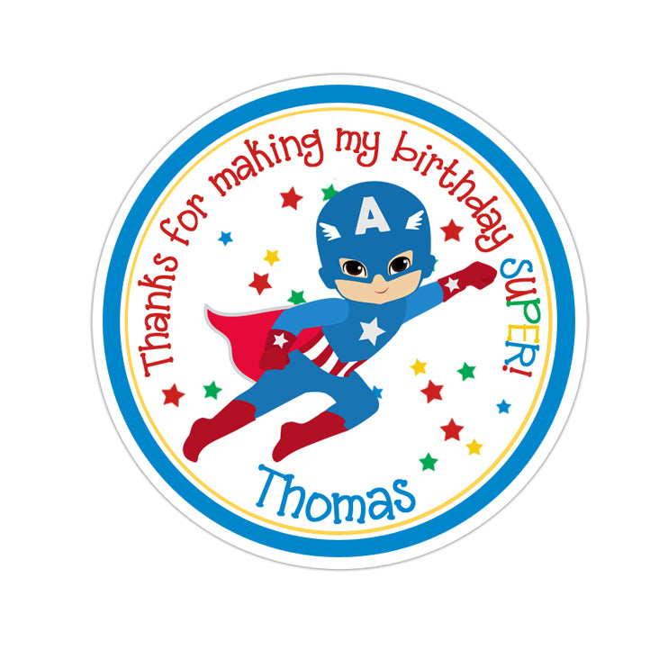Flying Captain America Personalized Sticker Birthday Stickers - INKtropolis