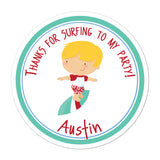 Surfer Boy Blonde Hair Personalized Sticker Baby Shower Stickers - INKtropolis