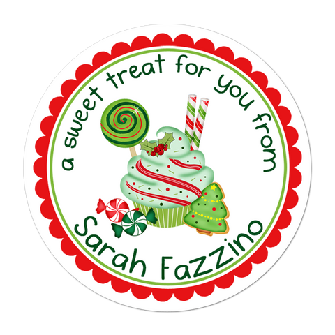 Holiday Sweets Personalized Christmas Gift Sticker