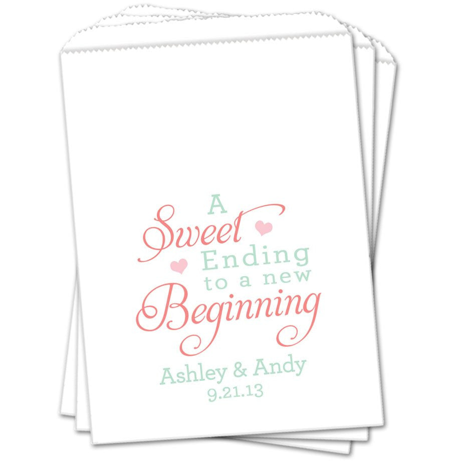A Sweet Ending To A New Beginning Wedding Favor Bags - Sets of 25 Wedding Favor Bags - INKtropolis