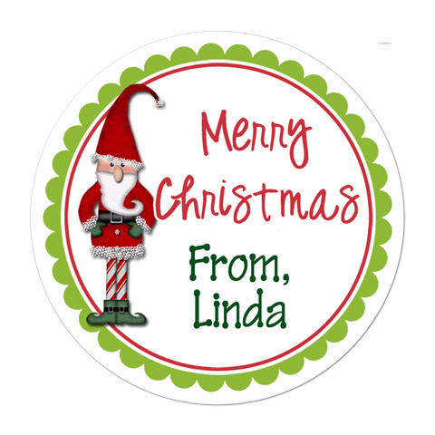 Elf Personalized Christmas Gift Sticker