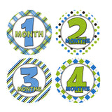 Green and Blue Patterned Monthly Baby Stickers onesie sticker - INKtropolis