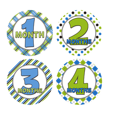 Green and Blue Patterned Monthly Baby Stickers