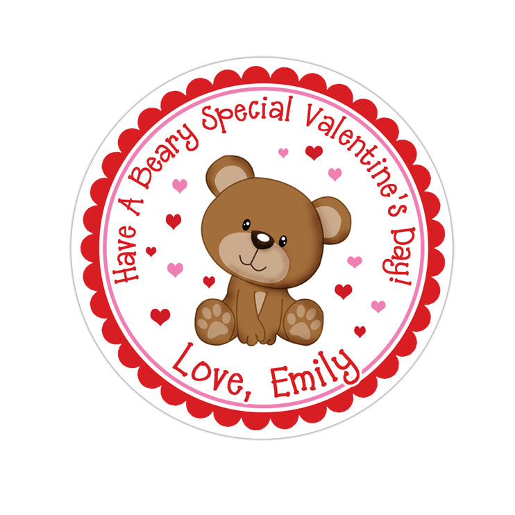Pink Heart Teddy Bear Valentines Day Personalized Sticker Valentines Day Stickers - INKtropolis