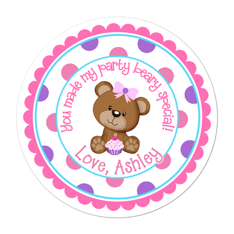 Teddy Bear Wide Polka Dot Border Personalized Sticker