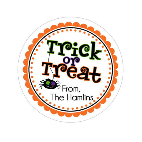 Trick Or Treat Spider Personalized Halloween Sticker