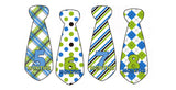 Green and Blue Patterned Monthly Baby Stickers - Tie Shaped onesie sticker - INKtropolis