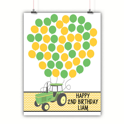 Personalized Birthday Guest Book Alternative - Tractor Balloons - Customized Poster, Print, Framed or Canvas, 50 Signatures