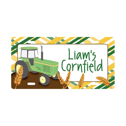 Personalized Tractor License Plate Sign - Kids Door Sign