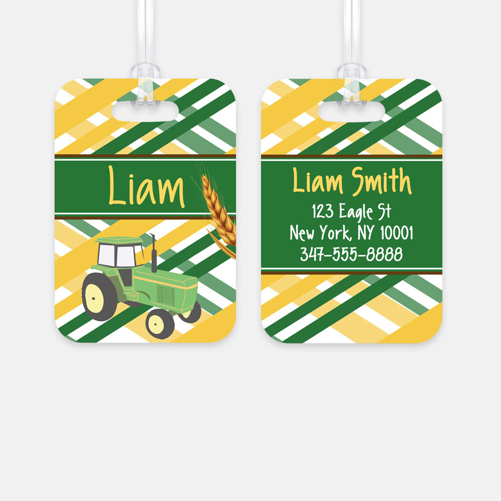 Personalized Tractor Luggage Tag, Kids Backpack Tag