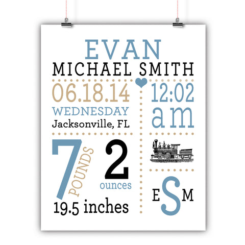 Train Baby Birth Stats Wall Art, Nursery Decor, Kids Room, Poster, Print, Framed or Canvas