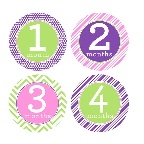 Pink, Purple, Lime Green Trendy Tot Monthly Baby Stickers