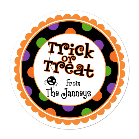 Trick Or Treat Wide Polka Dot Border Personalized Sticker