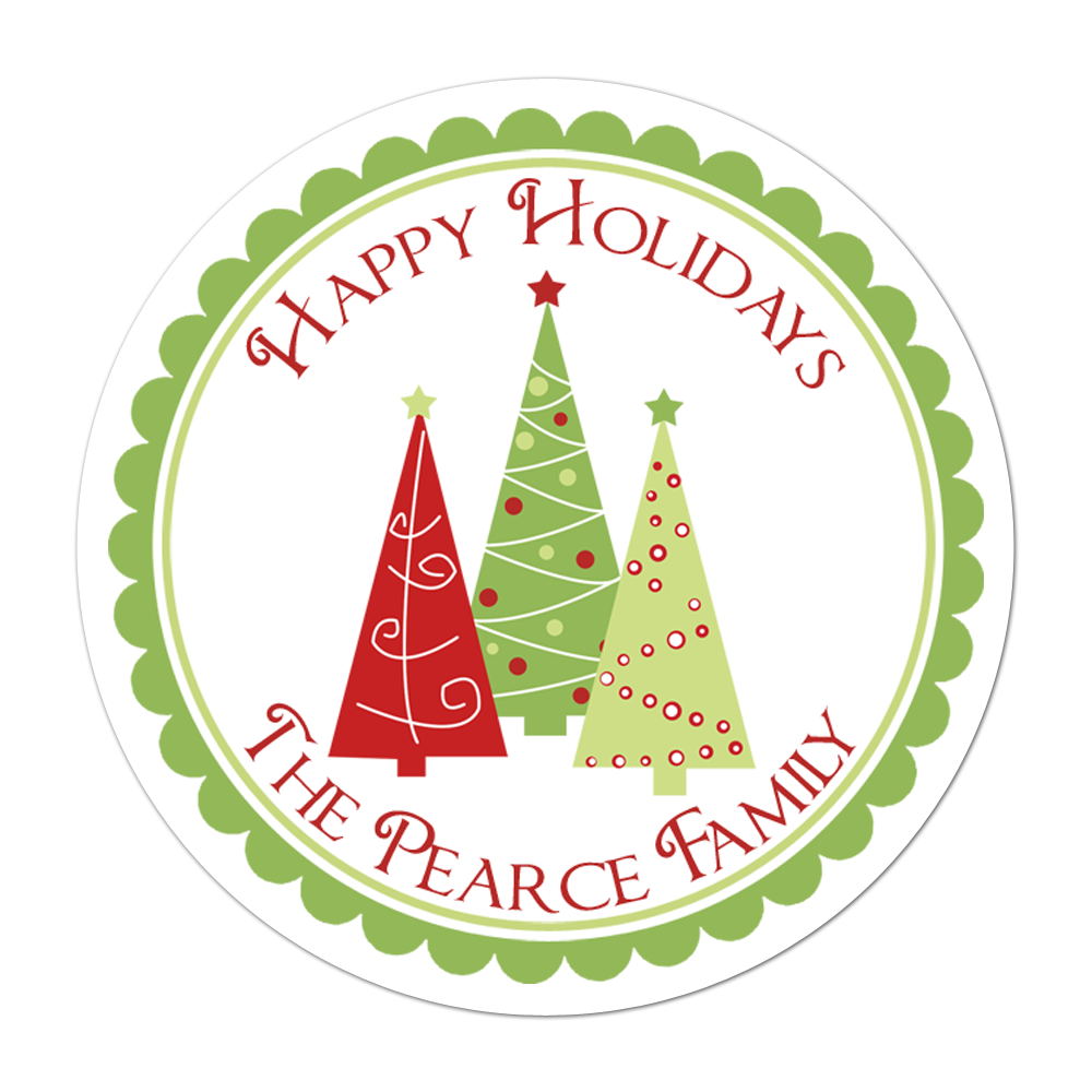 Trio Of Trees Personalized Sticker Christmas Stickers - INKtropolis