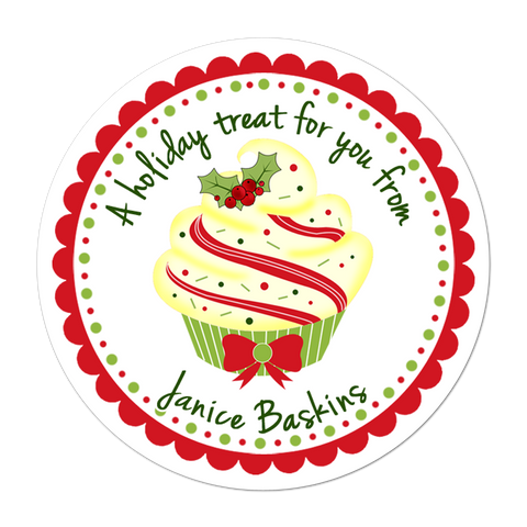 Vanilla Cupcake Personalized Christmas Gift Sticker