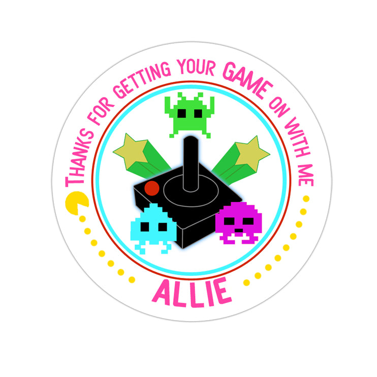 Pink Video Gamer Personalized Sticker Birthday Stickers - INKtropolis