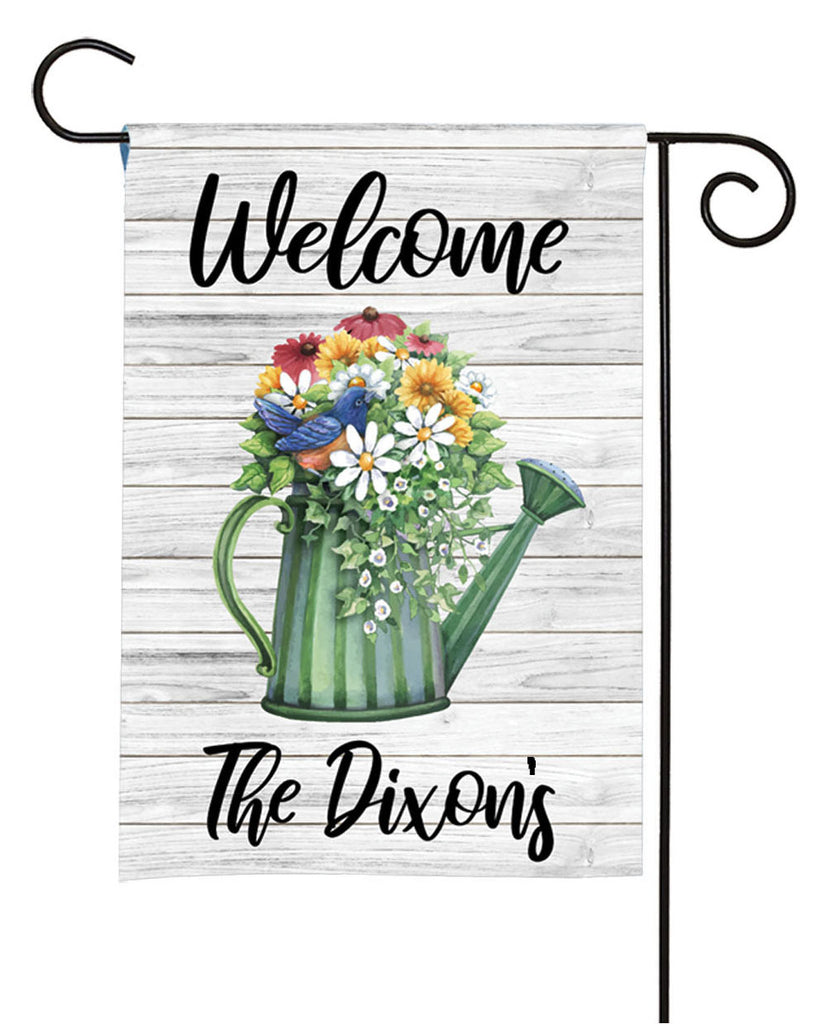 personalized watercolor watering can garden flag