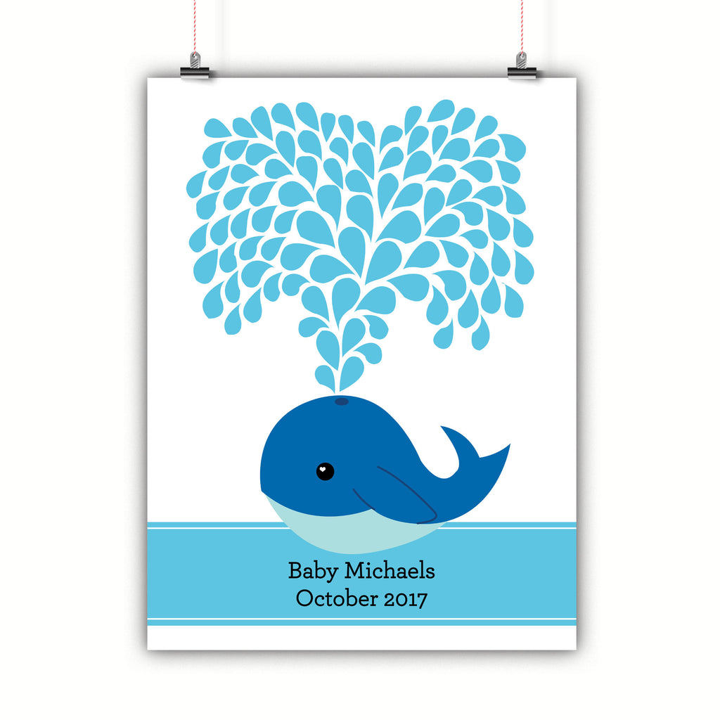 Personalized Baby Shower Guest Book Alternative - Blue Whale Customized Poster, Print, Framed or Canvas, 50 Signatures Baby Shower Guest Book - INKtropolis