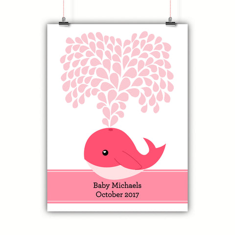 Personalized Baby Shower Guest Book Alternative - Pink Whale
