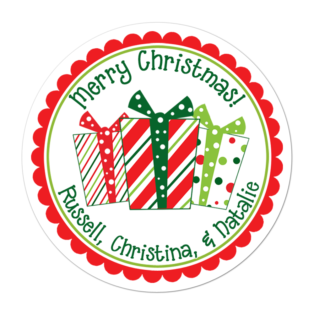 Whimsical Presents Personalized Sticker Christmas Stickers - INKtropolis