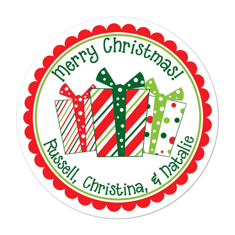 Whimsical Presents Personalized Holiday Gift Sticker