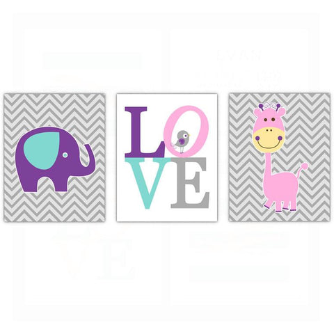 Whimsical Girls Elephant Bird Nursery Wall Art Decor Poster, Print, Framed or Canvas - Set of 3