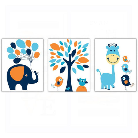 Whimsical Boys Elephant Bird Owl Nursery Wall Art Decor Poster, Print, Framed or Canvas - Set of 3
