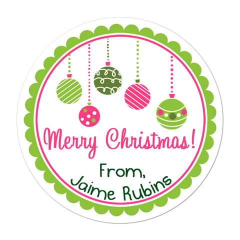 Pink And Green Ornaments Personalized Christmas Gift Sticker