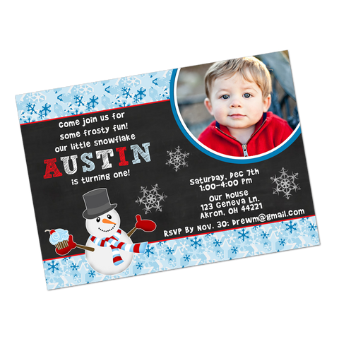 Winter Wonderland Snowman Digital Birthday Invitation