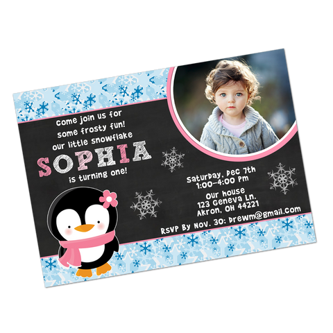 Winter Wonderland Girl Penguin Digital Birthday Invitation