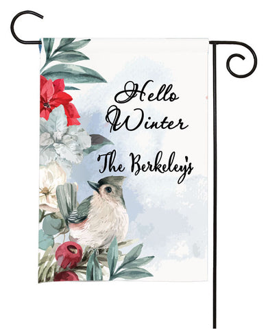 Personalized Winter Garden Flag - Floral Bird