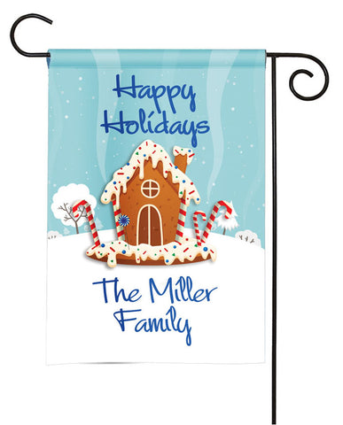Personalized Holiday Garden Flag - Gingerbread House