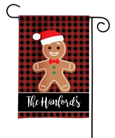 Personalized Holiday Garden Flag - Gingerbread Man