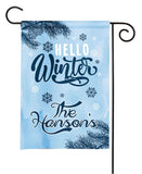 personalized hello winter garden flag