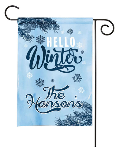Personalized Winter Garden Flag - Hello Winter