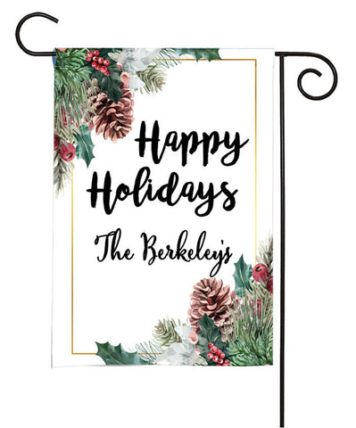 Personalized Winter Holiday Garden Flag - Pinecones