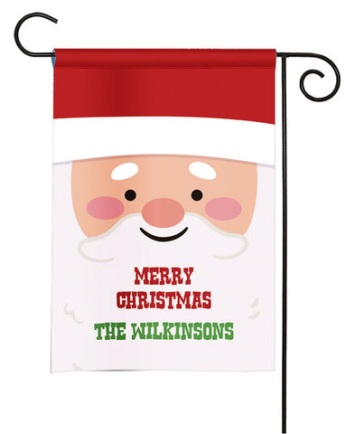 Personalized Christmas Garden Flag - Santa Claus Face