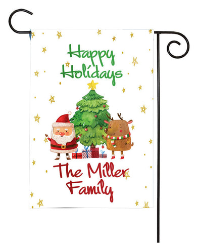 Personalized Christmas Garden Flag - Santa Claus and Reindeer