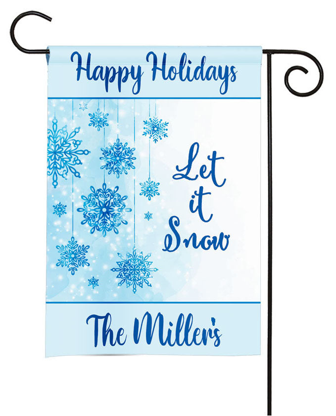 personalized snowflakes winter garden flag
