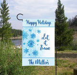 Personalized Winter Garden Flag - Snowflakes