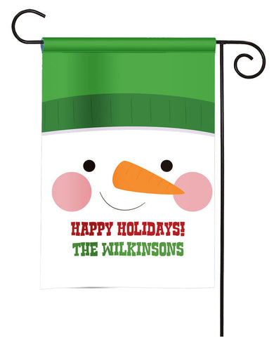 Personalized Christmas Garden Flag - Snowman Face
