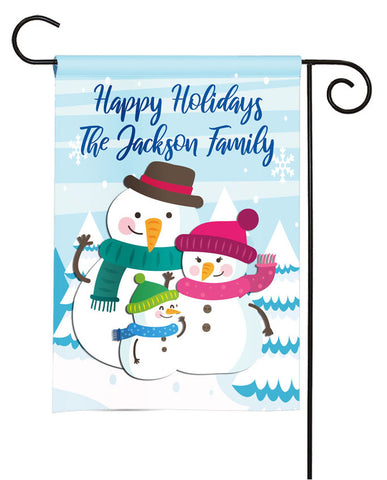 Personalized Christmas Garden Flag - Snowman Family