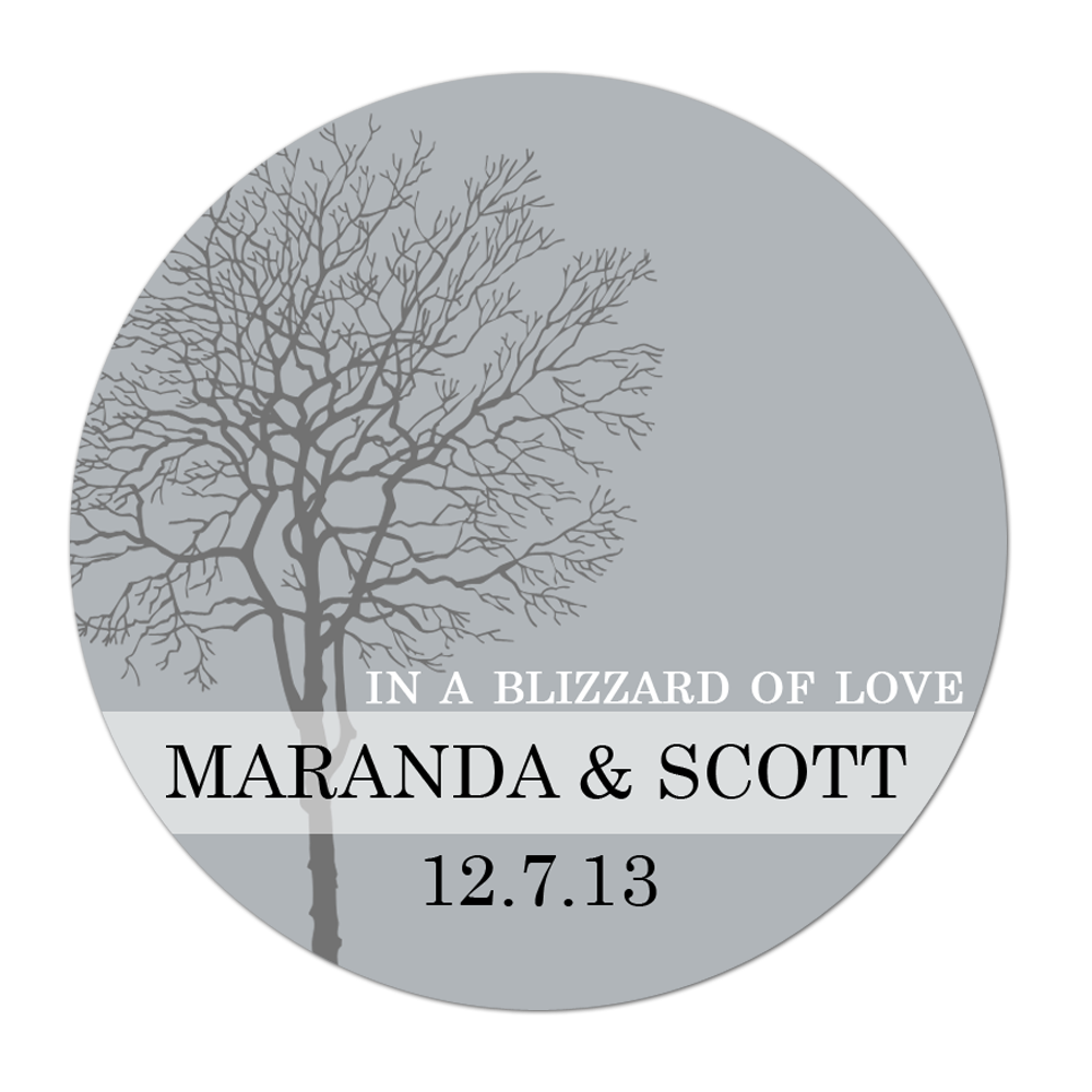 Winter Tree Personalized Sticker Wedding Stickers - INKtropolis