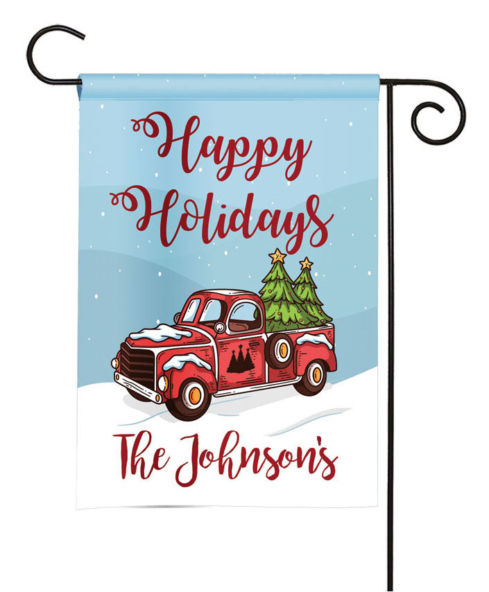 personalized vintage truck christmas flag