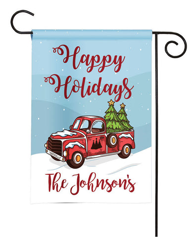 Personalized Christmas Garden Flag - Winter Vintage Truck