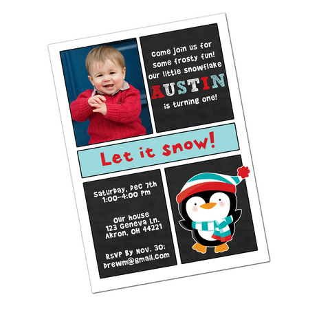 Winter Wonderland Penguin Digital Birthday Invitation