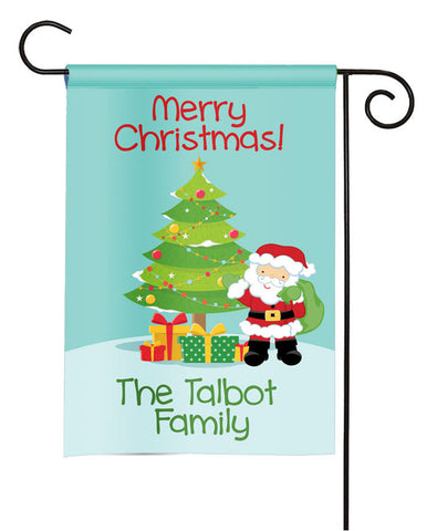 Personalized Christmas Garden Flag - Christmas Tree Santa